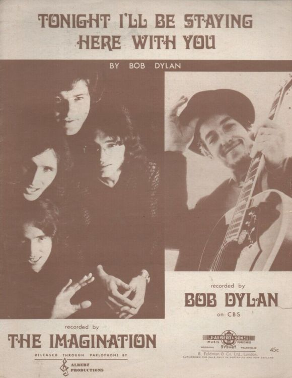 bob dylan tonight i'll be staying here with you by the imaginations sheet music